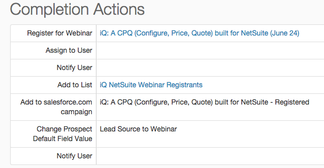 Pardot Marketing Automation and Completion Actions